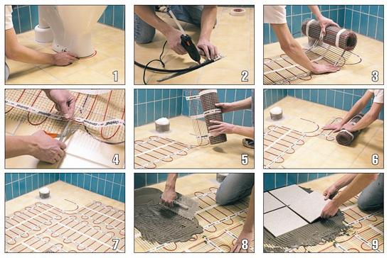 Как установить электрический теплый пол своими руками видео