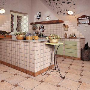 Пол на кухне из кафельной плитки